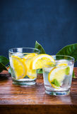 Glasses of fresh drink with ice, mint and slices of lemon. Stock Photography