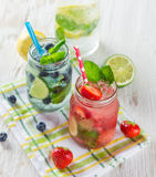 Glasses of fresh,home-made juice royalty free stock image