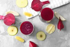 Glasses of fresh homemade smoothie. With some ingredients on table Stock Images
