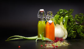 Glasses with fresh organic vegetable and fruit juices Royalty Free Stock Photos