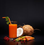 Glasses with fresh organic vegetable and fruit juices Stock Images