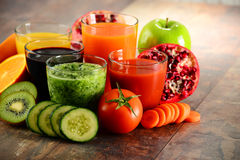 Glasses of fresh organic vegetable and fruit juices Stock Image