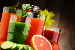 Glasses with fresh organic vegetable and fruit juices Royalty Free Stock Photo