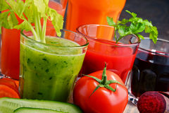 Glasses with fresh organic vegetable and fruit juices Royalty Free Stock Photography