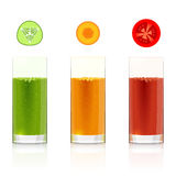 Glasses with fresh vegetable juices Royalty Free Stock Photo