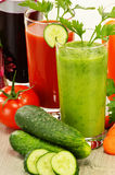 Glasses with fresh vegetable juices. Detox diet Stock Photography