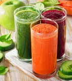 Glasses with fresh vegetable juices . Detox diet Royalty Free Stock Image