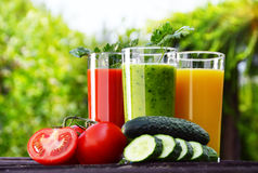 Glasses with fresh vegetable juices in the garden. Detox diet.  stock photo