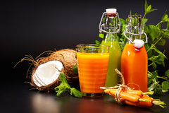 Glasses with fresh vegetable juices isolated on black. Detox. Diet Royalty Free Stock Photography