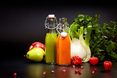Glasses with fresh vegetable juices isolated on black. Detox. Diet Royalty Free Stock Photos