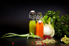 Glasses with fresh vegetable juices isolated on black. Detox. Diet Stock Image