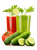 Glasses with fresh vegetable juices isolated on white Royalty Free Stock Image