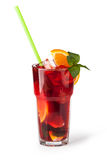 Glasses of fruit drinks with ice cubes Royalty Free Stock Images