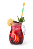 Glasses of fruit drinks with ice cubes Royalty Free Stock Photography