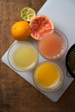 Glasses of fruit juices. From above Royalty Free Stock Image