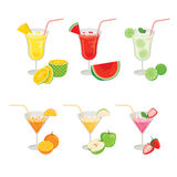 Glasses of Fruits and Cocktails. Summer Tropical Fruits Healthy Eating Food Drink Natural Stock Images