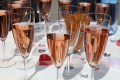 Glasses full of champagne Stock Photos