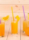 Glasses full of orange juice. Royalty Free Stock Images
