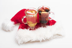 Glasses of glintwein or mulled hot wine Stock Images