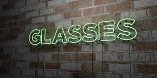 GLASSES - Glowing Neon Sign on stonework wall - 3D rendered royalty free stock illustration Royalty Free Stock Photo