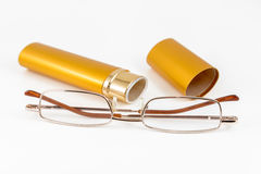 Glasses in gold case Stock Photography