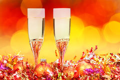 Glasses, gold Xmass balls on blurry background 5 Stock Photography
