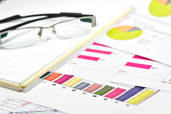 Glasses with graph paper Royalty Free Stock Photography
