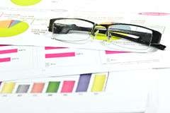 Glasses with graph paper Stock Photography