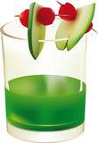 Glasses with green drink and fruit royalty free stock photography