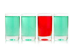Glasses with green and red liquid Royalty Free Stock Image