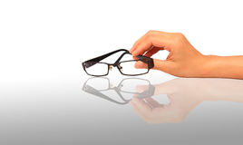 Glasses in the hand - isolated Royalty Free Stock Images