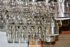 Glasses hanging in the bar Stock Images