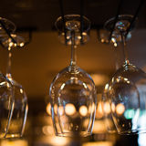 Glasses hanging over bar rack Royalty Free Stock Photos