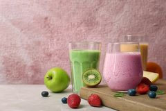 Glasses with healthy detox smoothies and ingredients Stock Images