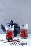 Glasses of hibiscus tea Royalty Free Stock Image