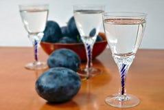 Glasses of homemade plum brandy Stock Photography