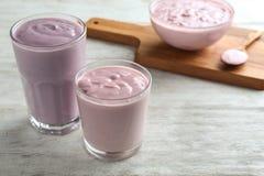 Glasses of homemade yogurt Stock Photo