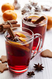 Glasses of hot mulled wine Stock Image