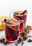 Glasses of hot mulled wine Stock Photos