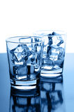 Glasses with ice cubes Royalty Free Stock Images