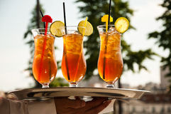 Glasses of ice tea with lemon Royalty Free Stock Photography