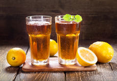 Glasses of ice tea with mint and lemon Royalty Free Stock Photo