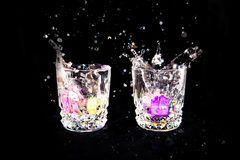 Glasses and ice Royalty Free Stock Images