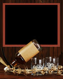 Glasses with ice for whiskey and bottle on wooden background. Royalty Free Stock Photography