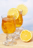Glasses of Iced Lemon Tea Royalty Free Stock Photos