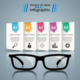 Glasses icon. Abstract  illustration Infographic. Glasses icon on the grey background. Business Infographics origami style Vector illustration Stock Images