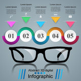 Glasses icon. Abstract  illustration Infographic. Glasses icon on the grey background. Business Infographics origami style Vector illustration Royalty Free Stock Photos