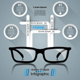 Glasses icon. Abstract  illustration Infographic. Glasses icon on the grey background. Business Infographics origami style Vector illustration Royalty Free Stock Image