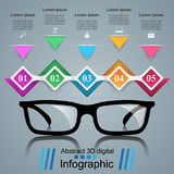 Glasses icon. Abstract  illustration Infographic. Glasses icon on the grey background. Business Infographics origami style Vector illustration Royalty Free Stock Photo