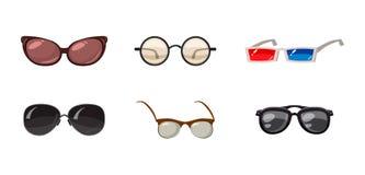 Glasses icon set, cartoon style. Glasses icon set. Cartoon set of glasses vector icons for web design isolated on white background Stock Image
